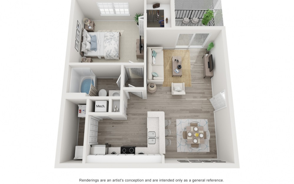 The Peach - 1 bedroom floorplan layout with 1 bath and 751 square feet.