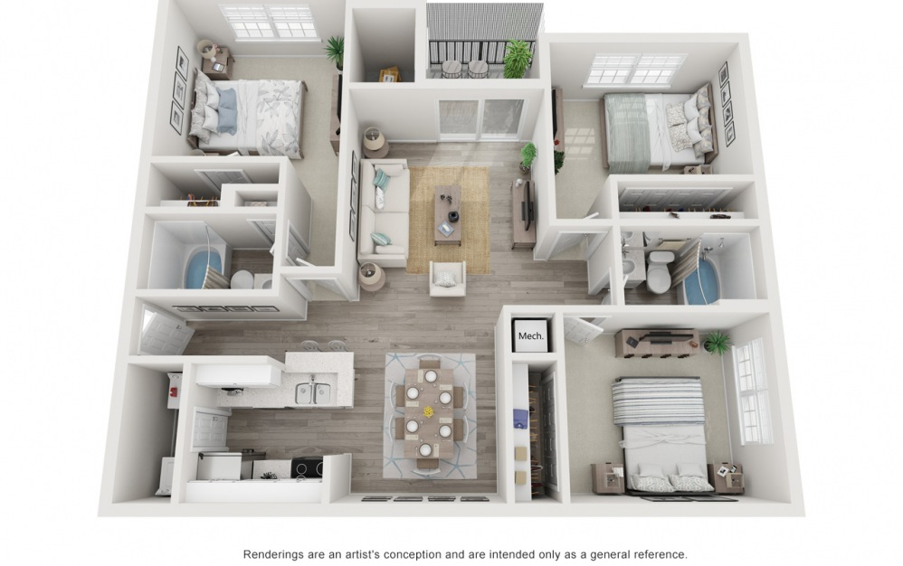 The Queen - 3 bedroom floorplan layout with 2 baths and 1298 square feet.