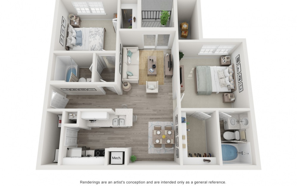 The Sabal - 2 bedroom floorplan layout with 2 baths and 1072 square feet.